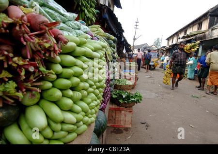 Gemüsemarkt, Chalai, Trivandrum, Kerala, Indien - Stockfoto