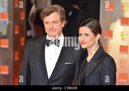 London, Vereinigtes Königreich 02.12.2012 Colin Firth und Livia Giuggioli besucht die Orange British Academy Film - Stockfoto
