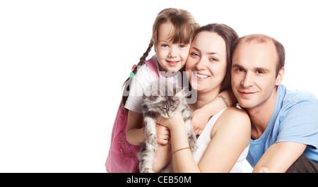 glückliche Familie mit einer Katze - Stockfoto