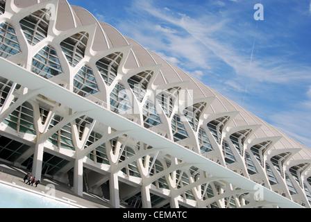Príncipe Felipe Wissenschaftsmuseum entworfen von Santiago Calatrava, Stadt der Künste und Wissenschaften, Valencia, - Stockfoto