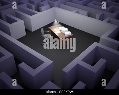 Ein leerer Schreibtisch in einem Labyrinth - Stockfoto