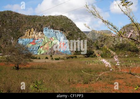 Mural De La Prehistoria, Vinales, im Auftrag von Fidel Castro - Stockfoto