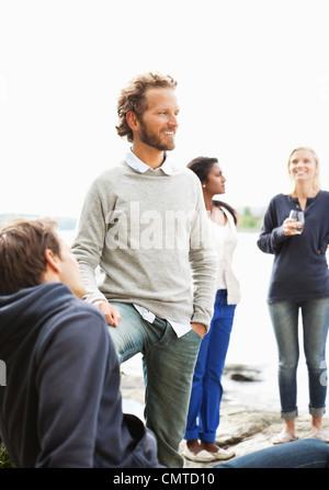 Gruppe der happy friends - Stockfoto