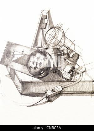 künstlerische Studie über Objekt Formen Zusammensetzung, von hand gezeichnet - Stockfoto