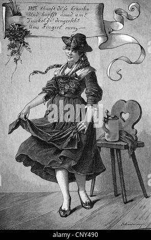 Schuhplattler, ein traditioneller Volkstanz der österreichisch-bayerischen Deutschland, historische Gravuren, ca. - Stockfoto