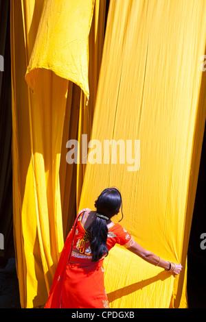 Frau im Sari, die Überprüfung der Qualität der frisch gefärbten Stoff hängen zum Trocknen, Sari Kleidungsstück Fabrik, - Stockfoto