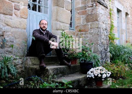 Frankreich, Manche, Mont-Saint-Michel, aufgeführt als Weltkulturerbe der UNESCO, Führer-Sprecher François Saint - Stockfoto