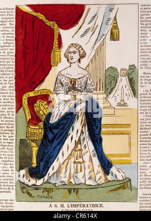 Eugenie, 5.5.1826 - 11.7.1920, Kaiserin der Franzosen 30.1.1853 - 4.9.1870, volle Länge, Holzstich, ca. 1855, Bayerisches - Stockfoto