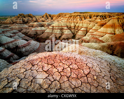 Erodiert und gebrochene Gestein und Schlamm Formationen. Badlands Nationalpark. South Dakota Formationen. - Stockfoto