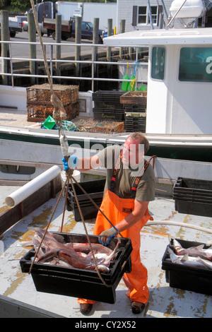 Massachusetts Cape Cod Chatham Shore Road Chatham Pier Berufsfischerei Boot Mann arbeiten Job Fischer - Stockfoto