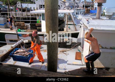 Massachusetts Cape Cod Chatham Shore Road Chatham Pier Berufsfischerei Boot Mann arbeiten Job Fischer boy - Stockfoto