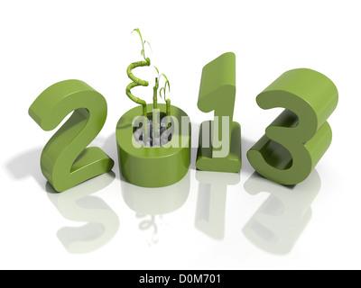 Silvester 2013 im grünen Zahlen mit Bambus auf eine reflektierende weiße Oberfläche - Stockfoto