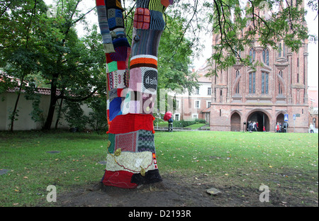 Urban Knitting in Vilnius - Stockfoto