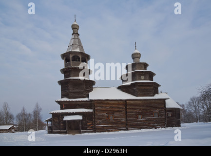 Alte Nikolaikirche (ca. XVIII Jh.). Vitoslavlitsy Freilichtmuseum Holzarchitektur. Nowgorod das große Russland - Stockfoto
