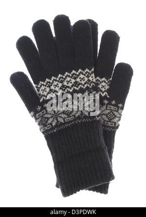 Winter Warm gestrickt schwarze Handschuhe isoliert auf weißem Hintergrund - Stockfoto