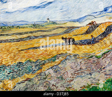 Vincent Van Gogh, geschlossenen Bereich mit Pflüger 1889 Öl auf Leinwand. Museum of Fine Arts Boston, Massachusetts - Stockfoto