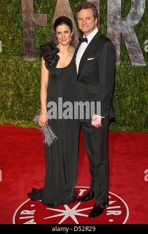 Britische Schauspieler Colin Firth und seine Frau Livia Giuggioli kommen bei der Vanity Fair Oscar Party im Sunset - Stockfoto