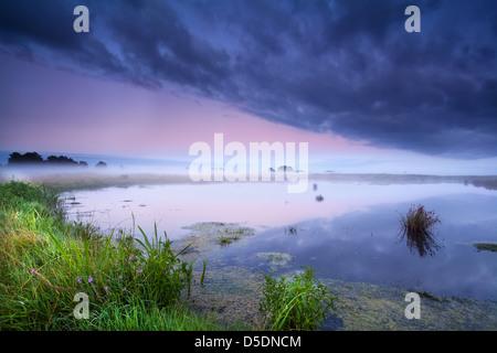 nebligen Sonnenaufgang über wilde See im Sommer - Stockfoto