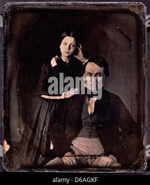 Paar Porträt, Daguerreotypie, ca. 1850 - Stockfoto