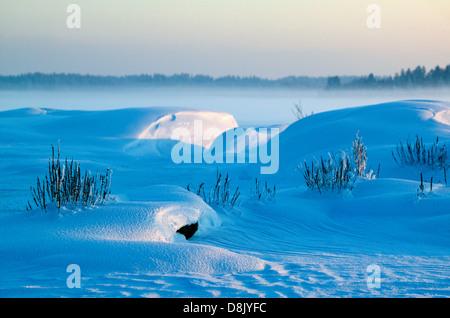 Schönen winter Abend an Moskjaera im See Vansjø in Østfold, Norwegen. Vansjø ist ein Teil des Wassers, das System - Stockfoto