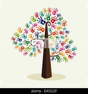 Bunte Vielfalt Baum übergibt Streifen Muster Hintergrund Illustration. Vektor-Datei geschichtet für einfache Handhabung - Stockfoto