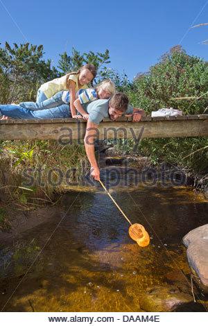 Vater, Tochter und Sohn Verlegung auf Steg und Dippen Fischernetz im stream - Stockfoto