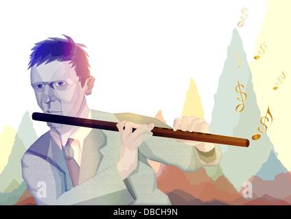Anschauliches Bild der Geschäftsmann Flötenspiel, Finanzen darstellt - Stockfoto