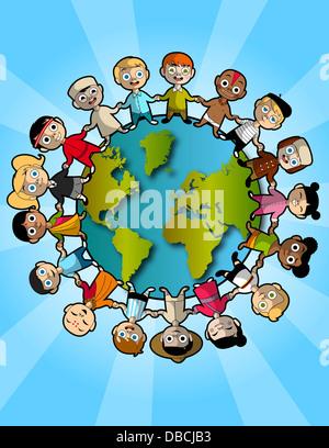 Illustration der Multi ethnischen Kinder stehen auf Planeten repräsentieren Teamarbeit - Stockfoto