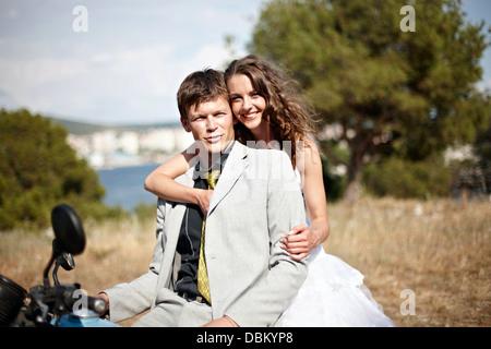 Brautpaar auf Motorrad, Kroatien, Europa - Stockfoto