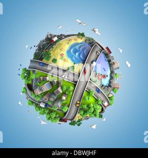 Konzept-Globus zeigt Vielfalt, Verkehr und grüne Energie im Cartoon-Stil - Stockfoto