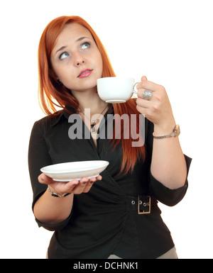 schöne junge Frau mit Kaffee, isoliert auf weiss - Stockfoto