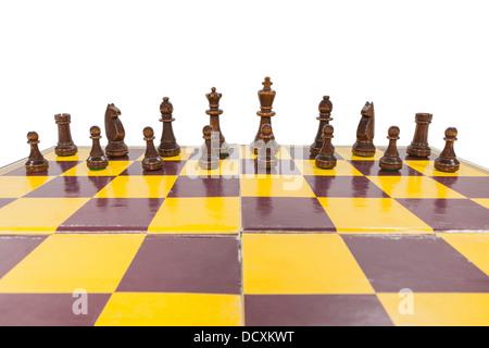 Vintage Schachbrett mit schwarzen Seite aufgereiht. - Stockfoto