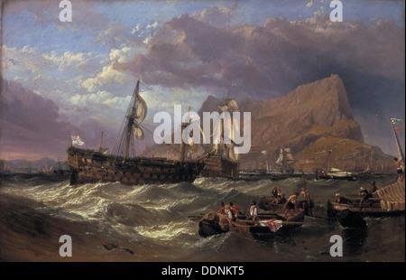 """""""Der"""" Sieg""""in Gibraltar geschleppt"""", 1854. Künstler: Clarkson Stanfield - Stockfoto"""