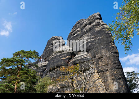Kletterer am Felsen Wand, Sächsische Schweiz, Sachsen - Stockfoto