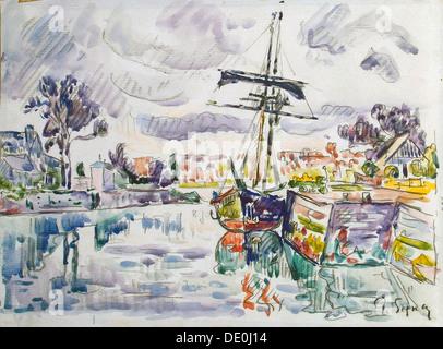 """""""Segelboot an einem Pier"""", 1920er Jahre.  Künstler: Paul Signac - Stockfoto"""