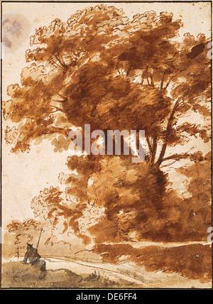 Gruppe von Bäumen und Sheperd, 1630er Jahren ruht. Künstler: Lorrain, Claude (1600-1682) - Stockfoto