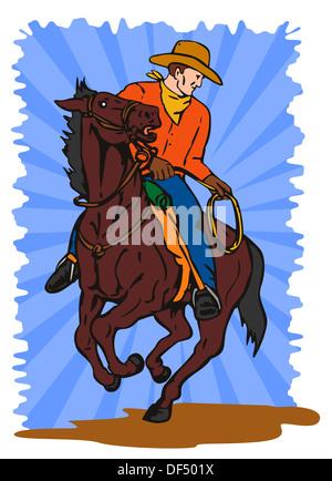 Illustration von Cowboy Pferd mit Lasso blickte den Boden getan im retro-Stil zurück. - Stockfoto