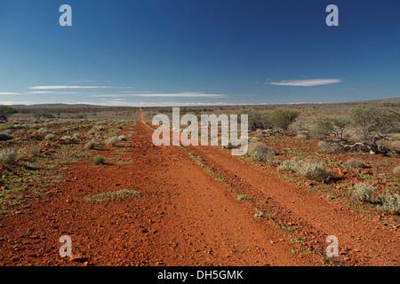 Australischen outback-Landschaft mit langen roten Straße über weite Ebenen mit niedrigen olivgrün Vegetation zum - Stockfoto
