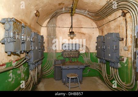 Unterirdische militärische Kommunikation im Mittelpunkt Maginot Linie Modane Savoie Frankreich Fort Saint Gobain - Stockfoto