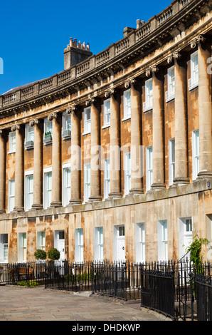 Die Royal crescent Terrasse des georgischen Häuser Bad Somerset England UK GB EU Europa - Stockfoto