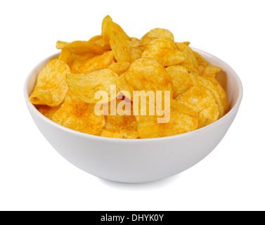 Kartoffel-Chips auf einem weißen Hintergrund - Stockfoto