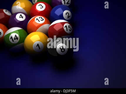 Billardkugeln auf blauem Hintergrund (computergenerierte Bild) - Stockfoto
