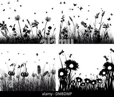 Satz von Grass Silhouetten - Stockfoto