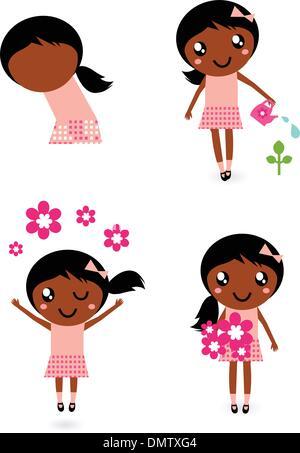 Kleine niedliche Gärtner Mädchen in verschiedenen Posen, isoliert auf weiss - Stockfoto