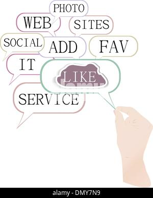 Soziale Medien und Netzwerk-Konzept: wie Wolke mit Händen - Stockfoto