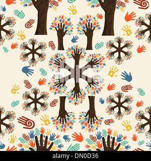 Vielfalt-Baum-Hände-Muster - Stockfoto