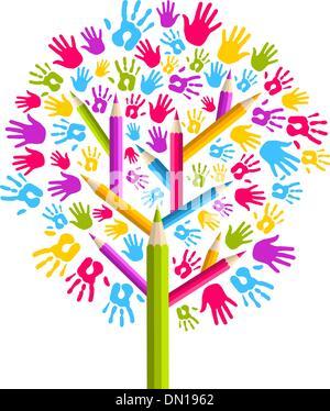 Vielfalt Bildung Baum Hände - Stockfoto