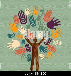 Vielfalt menschlicher Baum Hände - Stockfoto