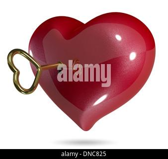 3D Abbildung symbolisch rotes Herz auf weißem Hintergrund - Stockfoto