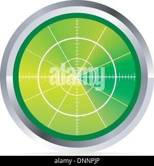 Abbildung von Radar oder Oszilloskop Monitor auf weiß - Stockfoto